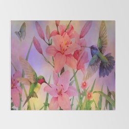 Painterly Hummingbirds And Flowers Throw Blanket