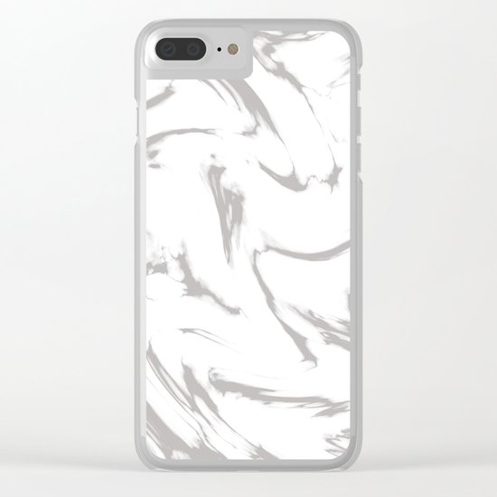 Marble Black and White Grey Gray Marble Swirl Clear iPhone Case