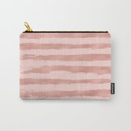 Elegant Rose Gold Metallic Handpainted Stripes Carry-All Pouch