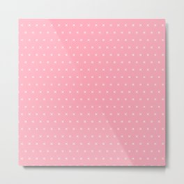 Pink and white cross sign pattern Metal Print