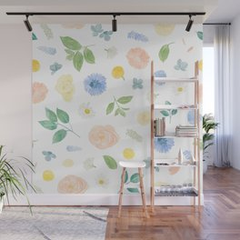 Pastel Blue Florals Watercolour Pattern Wall Mural