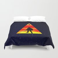 the legend of zelda Duvet Covers featuring LEGEND OF ZELDA TRIANGLE by kattie flynn