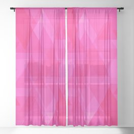 Bright pink triangles in intersection and overlay. Sheer Curtain