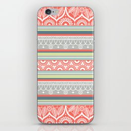 Boho Mandala Coral Striped Pattern iPhone Skin