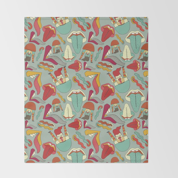 Lips and tongues Throw Blanket