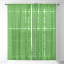 Delicate cruciform light stars on a dark green background. Sheer Curtain