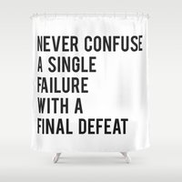 fitzgerald Shower Curtains featuring F Scott Fitzgerald - Never Confuse A Single Failure With A Final Defeat Print by StricklenPress