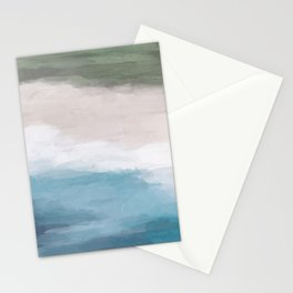 Ocean Aqua Blue Green Grass Beige Sand Abstract Tropical Hawaii Aerial Wall Art, Painting Stationery Cards
