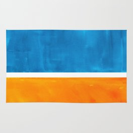 Colorful Jewel Tones Blue Gold Color Block Minimalist Watercolor Art Modern Simple Shapes Rug
