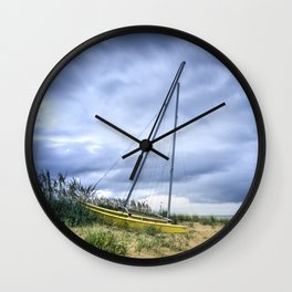 Sailboat Aground During Storm Wall Clock