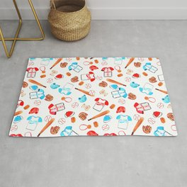 Baseball Watercolor Sports Pattern Rug