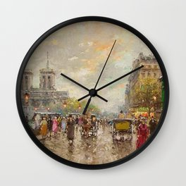 Notre Dame Cathedral, Paris, France by Antone Blanchard Wall Clock