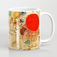 attack on titan Mugs featuring Attack on beach by Aleksandra Chabros aka Adelaida