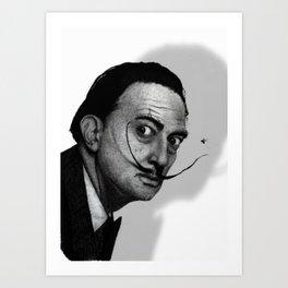 Salvador Dalí (b&w) Art Print