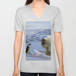 Cute Polar Bear Cub & Penguin Unisex V-Neck
