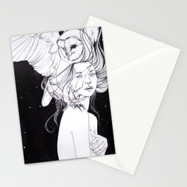 Woman with Owl Familiar Stationery Cards