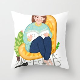 Reading Girl And Cat Throw Pillow