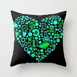Biotech Heart Throw Pillow