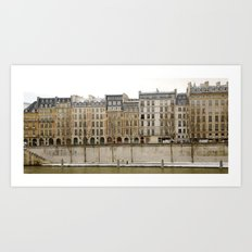 Snowy Apartments Paris Art Print