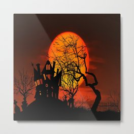 Sunset Silhouette Haunted House Metal Print