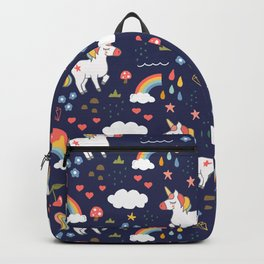 Unicorns and Rainbow in Navy Backpack