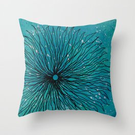 Flower on turquoise Throw Pillow