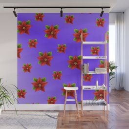 Red Flowers Pattern 3 Wall Mural