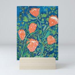 Coral Proteas on Blue Pattern Painting Mini Art Print