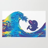 hokusai Area & Throw Rugs featuring Hokusai Rainbow & Babydolphin by FACTORIE