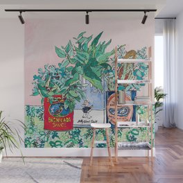Jungle Botanical in Colorful Cans on Pink - Still Life Wall Mural