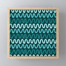Bold Teal Waves Framed Mini Art Print