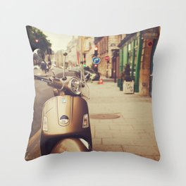 Vespa in Paris Throw Pillow