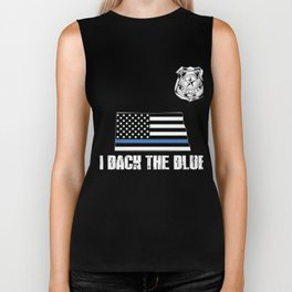 North Dakota Police Appreciation Thin Blue Line I Back The Blue Biker Tank