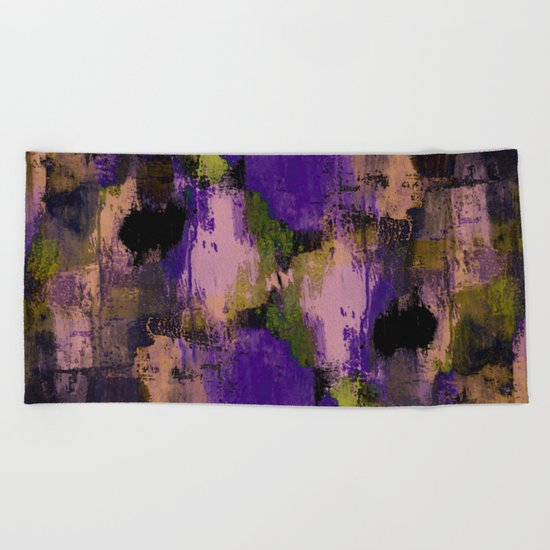 Abstract Nature - Textured, blue, yellow, pink, lilac, purple, black and orange painting Beach Towel
