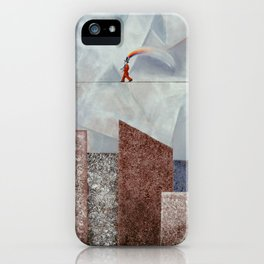 Happy man over the city iPhone Case