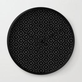 Persimmon Hitomezashi Sashiko - White on Black Wall Clock