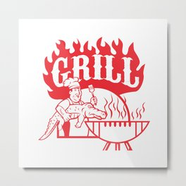 BBQ Chef Carry Gator Grill Retro Metal Print
