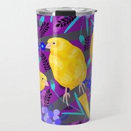 Canaries on Purple Travel Mug