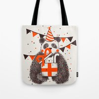 happy birthday Tote Bags featuring Happy Birthday by Tobe Fonseca