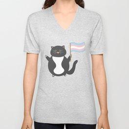 pastel trans pride cat Unisex V-Neck