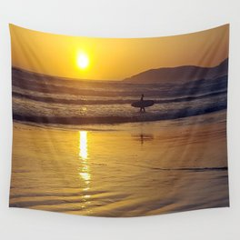 Pismo Beach Surfer in the Sunset Wall Tapestry
