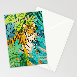 Only 3890 Tigers Left, Wildlife Vibrant Tiger Painting, Jungle Nature Colorful Illustration Stationery Cards