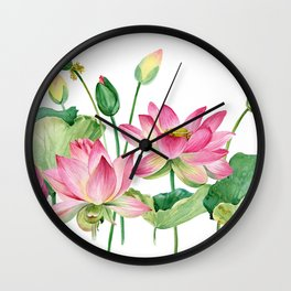Watercolor pink lotus Wall Clock