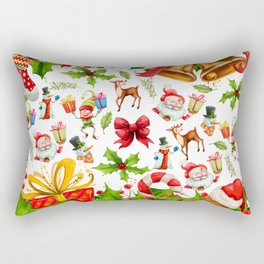 Holiday festive red green holly Christmas pattern Rectangular Pillow