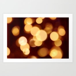 Gold and Dark Red Bokeh Photography Art Print