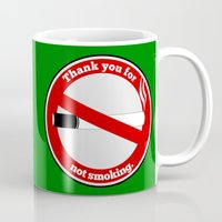 smoking Mugs featuring No Smoking by mailboxdisco