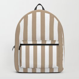 Pantone Hazelnut and White Stripes, Wide Vertical Line Pattern Backpack