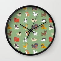 asian Wall Clocks featuring ASIAN DOGS by DoggieDrawings