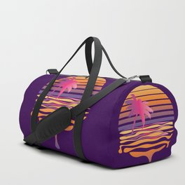 Retro striped sun and palm Duffle Bag