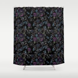 Floral pattern on a black background . Blue and purple flowers . Shower Curtain